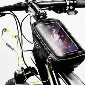Image 5 - 自転車バッグ防水フロントバイクサイクリングバッグ 6.2 インチ携帯電話自転車トップチューブハンドルバーバッグマウンテンサイクリングアクセサリー