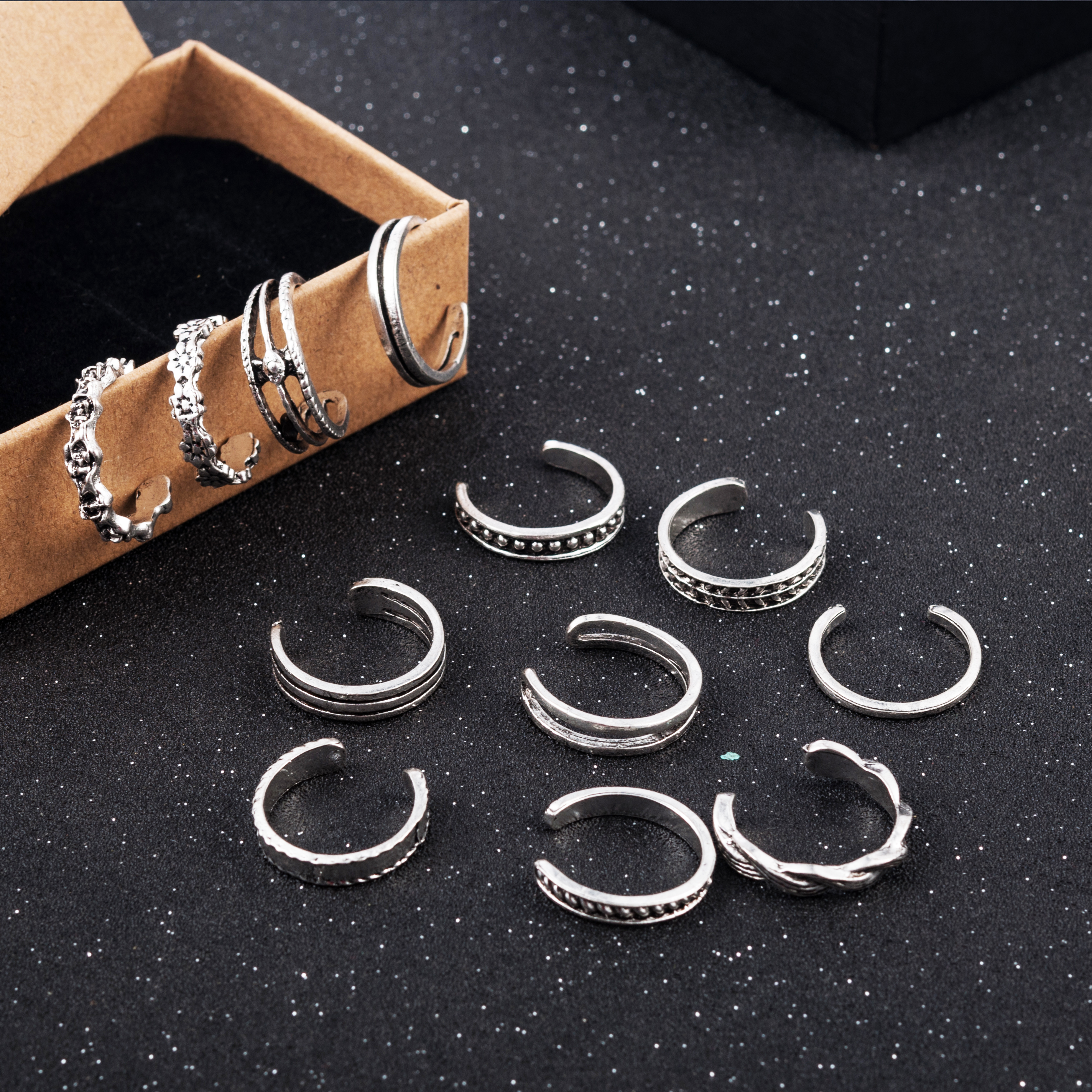 12PCs/set Women Lady Unique Adjustable Opening Finger Ring Retro Carved Toe Ring Foot Beach Foot Jewelry anillos mujer 2
