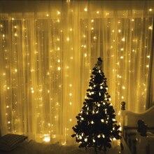 Gordijn String Licht Tuin Decoratie Nieuwe Bruiloft Verjaardag Party Kerst 3X3 M Led lampen 300 1 Jaar Wit bulb Eu Plug Living
