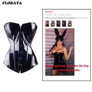 Image 5 - Corset en cuir noir en PVC pour femmes, Lingerie Steampunk, Top Goth, Sexy, pour entraîneur, taille, Corset