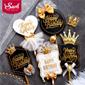 Delicate Black White Royal Style Happy Birthday Cake Topper for Party Decoration Baking Supplies Love Gifts