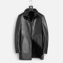 Clothing Jackets Coats Winter Genuine-Leather Mink-Fur Long Men New for Warm Black Top-Quality