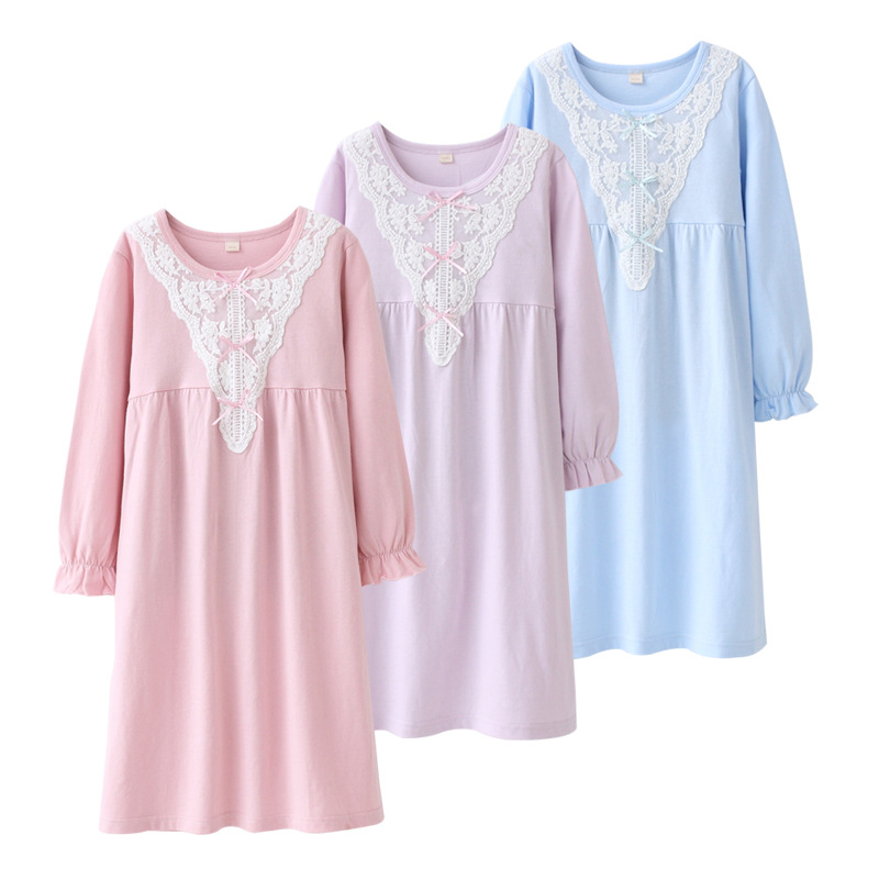 Children's Home Wear Cotton Parent And Child Sleepwear Dress Girls Lace Baby Airable Clothes Four Seasons