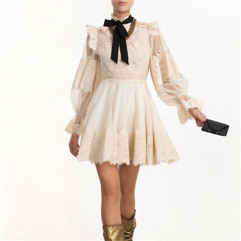 Zimm robe 2019 automne nouvelle lanterne manches voir à travers maille dentelle mousseline de soie Patchwork Mini robe