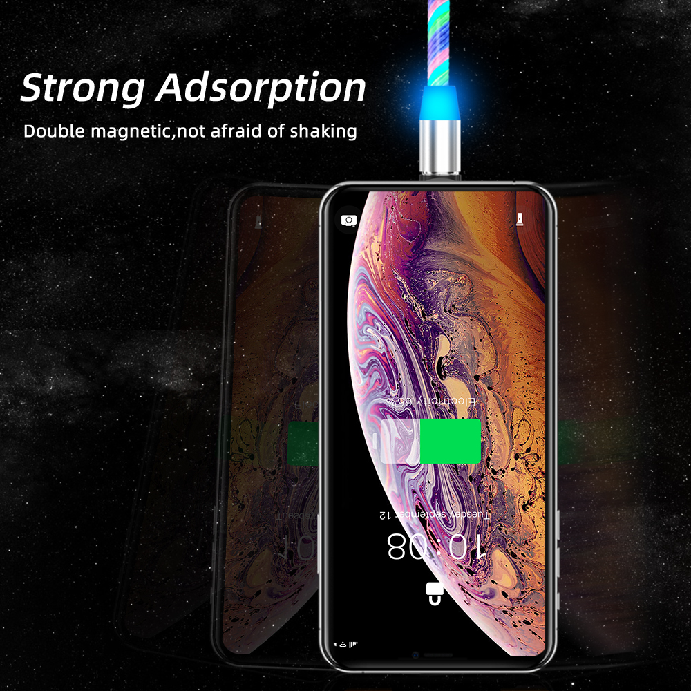 Lighting Fast Charging Magnetic USB Type C Cable Magnetic Cable USB Micro Charger Cable Wire for Xiaomi iPhone Huawei Samsung 6