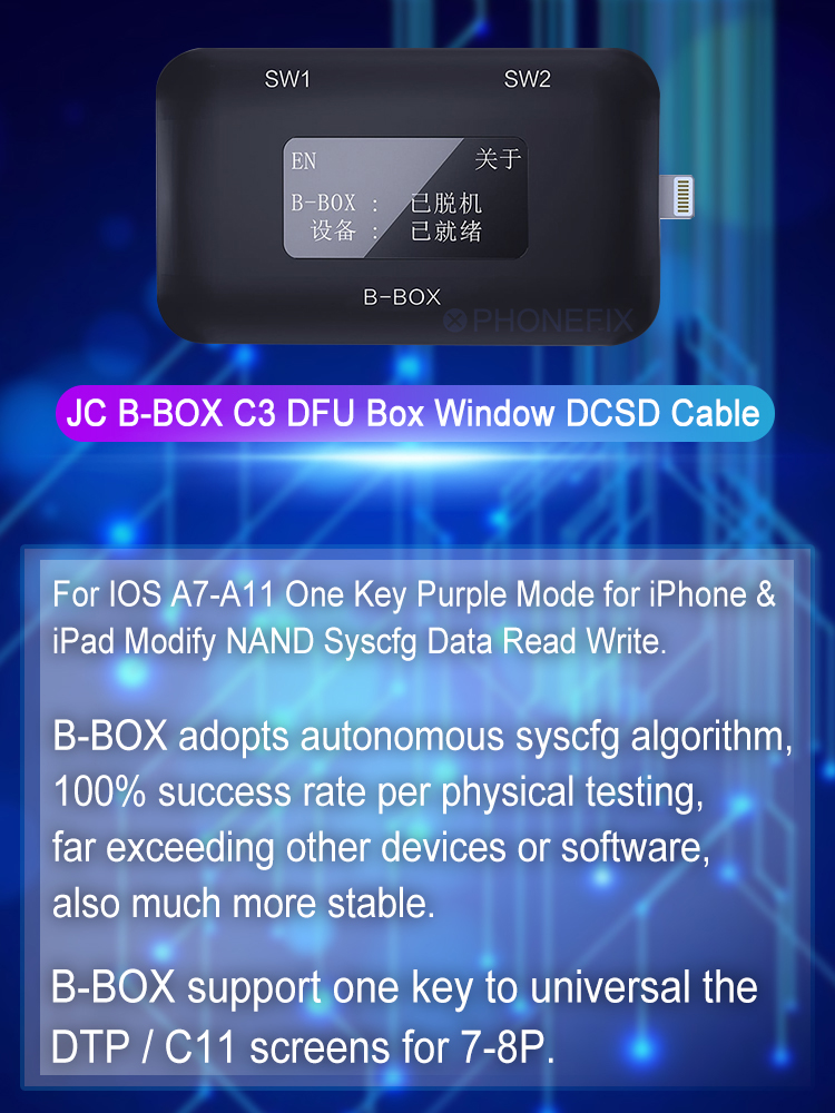 JC B-BOX C3 DFU One Key to Purple for IOS A7-A11 for iPhone & iPad Unlock WIFI Modify NAND Syscfg Data Same as Window DCSD Cable