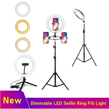 Tongdaytech Dimmable LED Selfie Ring Fill Light Phone Camera Photography Led Ring Lamp With Tripod For Makeup Video Live YouTube