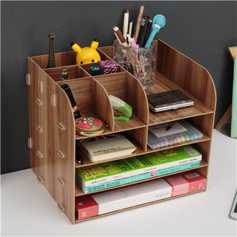 Office Supplies Large-sized Desktop Drawer Type Storage Box Wooden Document Frame Wooden Document Frame Materials Rack