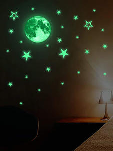 Luminous Moon and Stars Wall Stickers for Kids Room Baby Nursery Home Decoration Wall