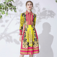 SEQINYY High Quality Dress 2020 Summer Spring New Fashion Design Women Vintage Flower Print Yellow Red Knee Casual Dresses