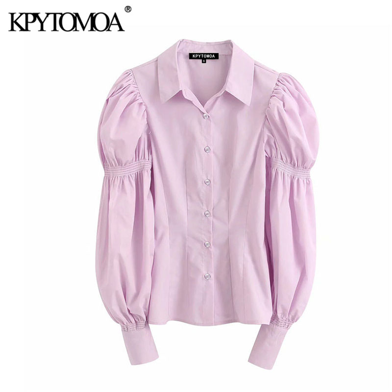 KPYTOMOA Women 2020 Fashion Office Wear Pink Blouses Vintage Lapel Collar Stretchy Puff Sleeve Female Shirts Blusas Chic Tops