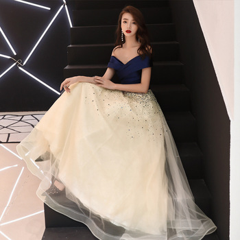 New arrival Navy blue evening Dress Formal vestido noiva sereia prom party robe de soiree luxury frock sexy A-line dress