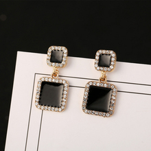 Black Crystal Earrings Square Geometric Needle Simple Temperament Fashion Korean-style Drop