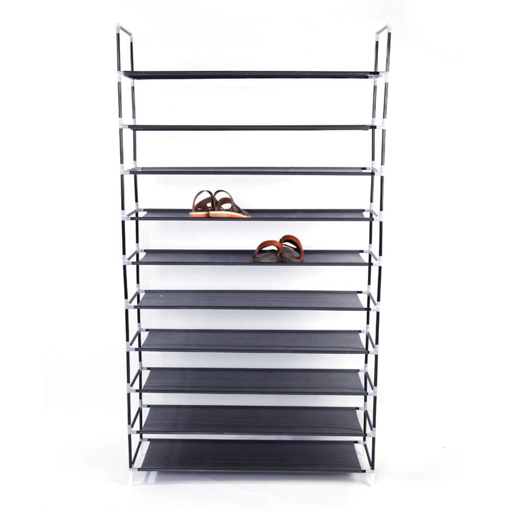 Simple Assembly 10 Tiers Non-woven Fabric Shoe Rack With Handle Black For Home Shoes Shoe Storage Cabinet Organizer Holder