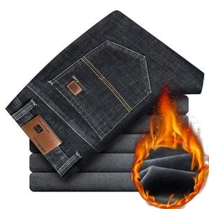 Image 2 - 2019冬の新メンズ暖かいレギュラーフィットジーンズビジネスファッション厚手のフリースデニムストレッチジーンズズボン男性ブランドパンツ黒