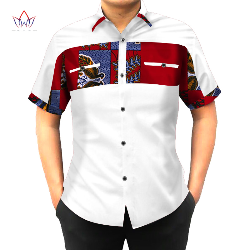 Custom African Print Clothing Shirt Men Short Sleeve Dashiki Men Shirts Mens Slim Fit African Clothing Plus Size 6XL BRW WYN302