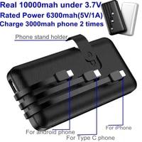 10000mah Power Bank mit Kabel für iPhone Samsung Huawei Xiaomi Telefon Tragbare ladegerät mit Gebaut-in Kabel Power