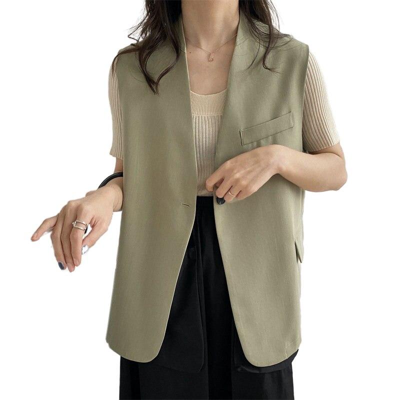 Tangada woman elegant green long vest coat office ladies waistcoat sleeveless blazer button outwear top high quality ATC13