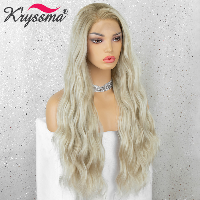 Kryssma Ombre Blonde Synthetic Wigs For Women Long Wave Lace Front Wig Cosplay Wigs With Dark Roots Heat Resistant Fiber Hair