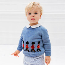 2021 Boys Pullover Sweater Spanish Toddler Baby Knitted Cartoon Sweater Kids Knitting Pullover Top Children Clothes Knitwear