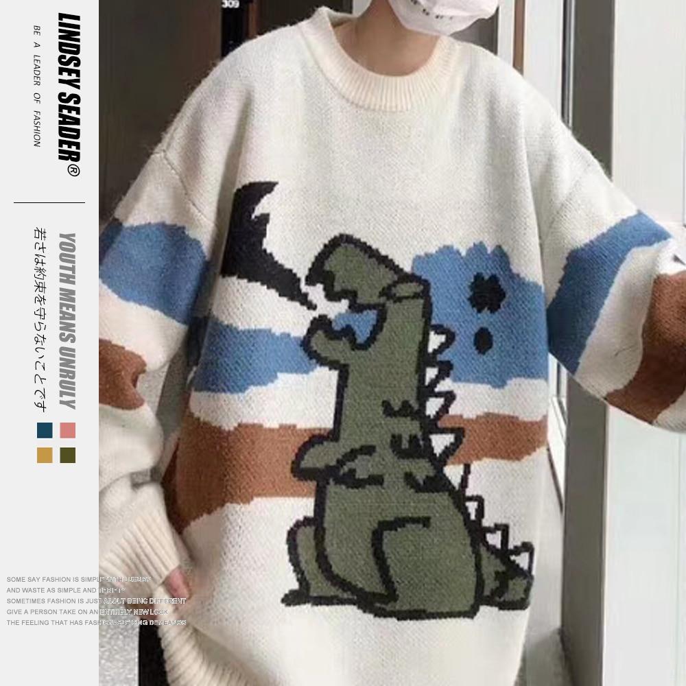 Lindsey Seader Loose Dinosaur Sweater 2020 Autumn Korean Style Knitting Pull Sweater Mens Harajuku Casual Outwear Men Clothes