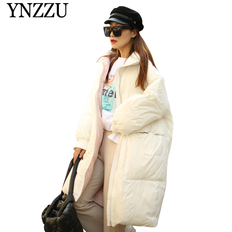 2019 Winter Solid Women   down     coat   Oversize thick warm Female   Down   jackets High collar casual Pockets Long outerwear YNZZU YO957