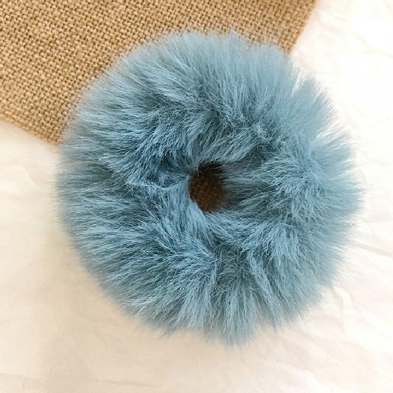Новые зимние теплые мягкие резинки из кроличьего меха для женщин и девушек, эластичные резинки для волос, плюшевая повязка для волос, резинки, аксессуары для волос - Цвет: 34