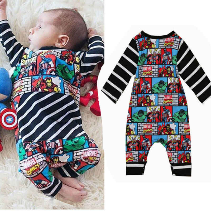 Infant Newborn Baby Kid Boy Outfits Superhero Romper Jumpsuit Bodysuit super hero print baby clothes