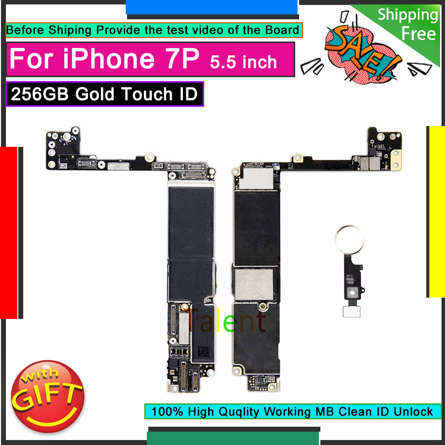 For IPhone 7 Plus Motherboard 256GB Gold Touch ID Home Button Unlock Original Mainboard Good Working Logic Board Tested Function