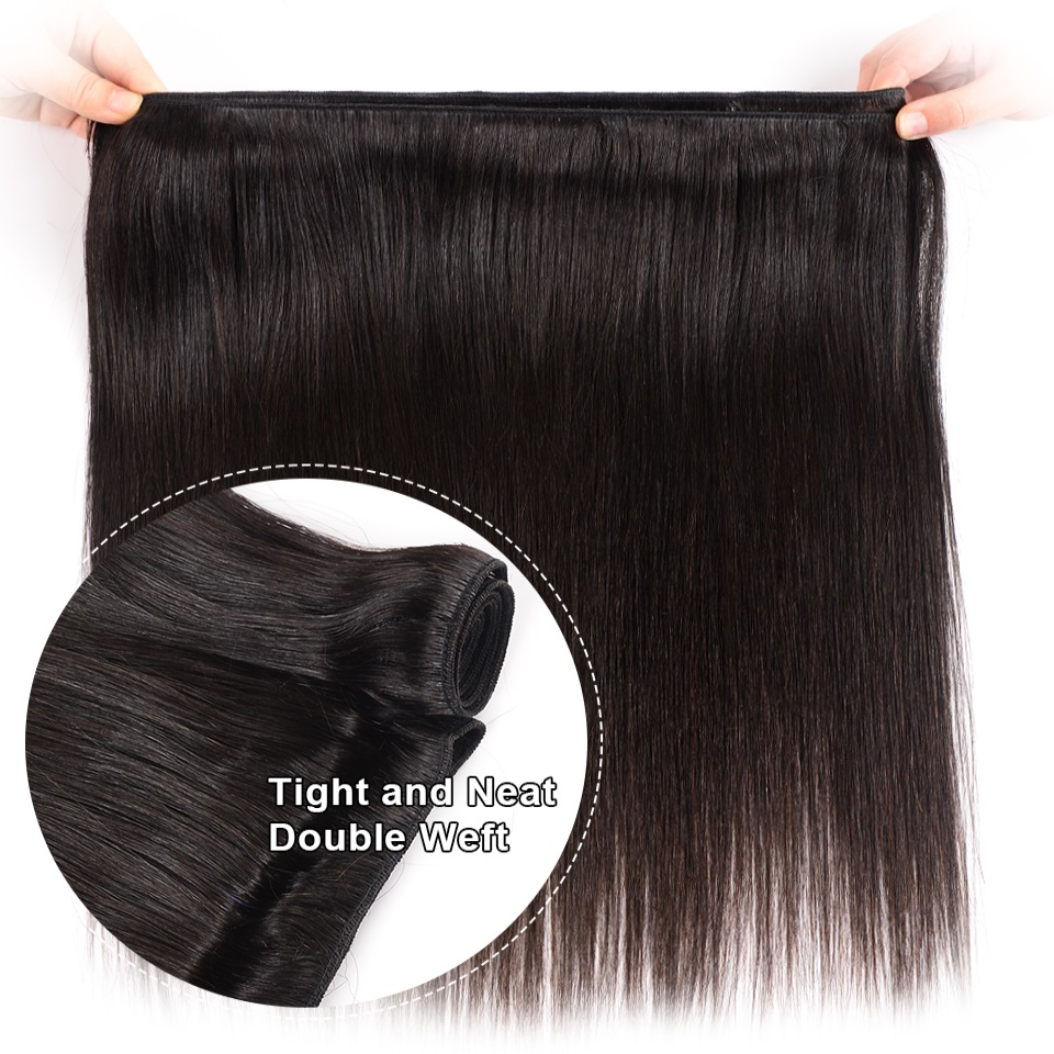 Hairmoda Human Hair Bundles Hair Extensions Peruvian Hair Bundles Straight Remy Hair Weave 3 Pieces 8-28 Inches