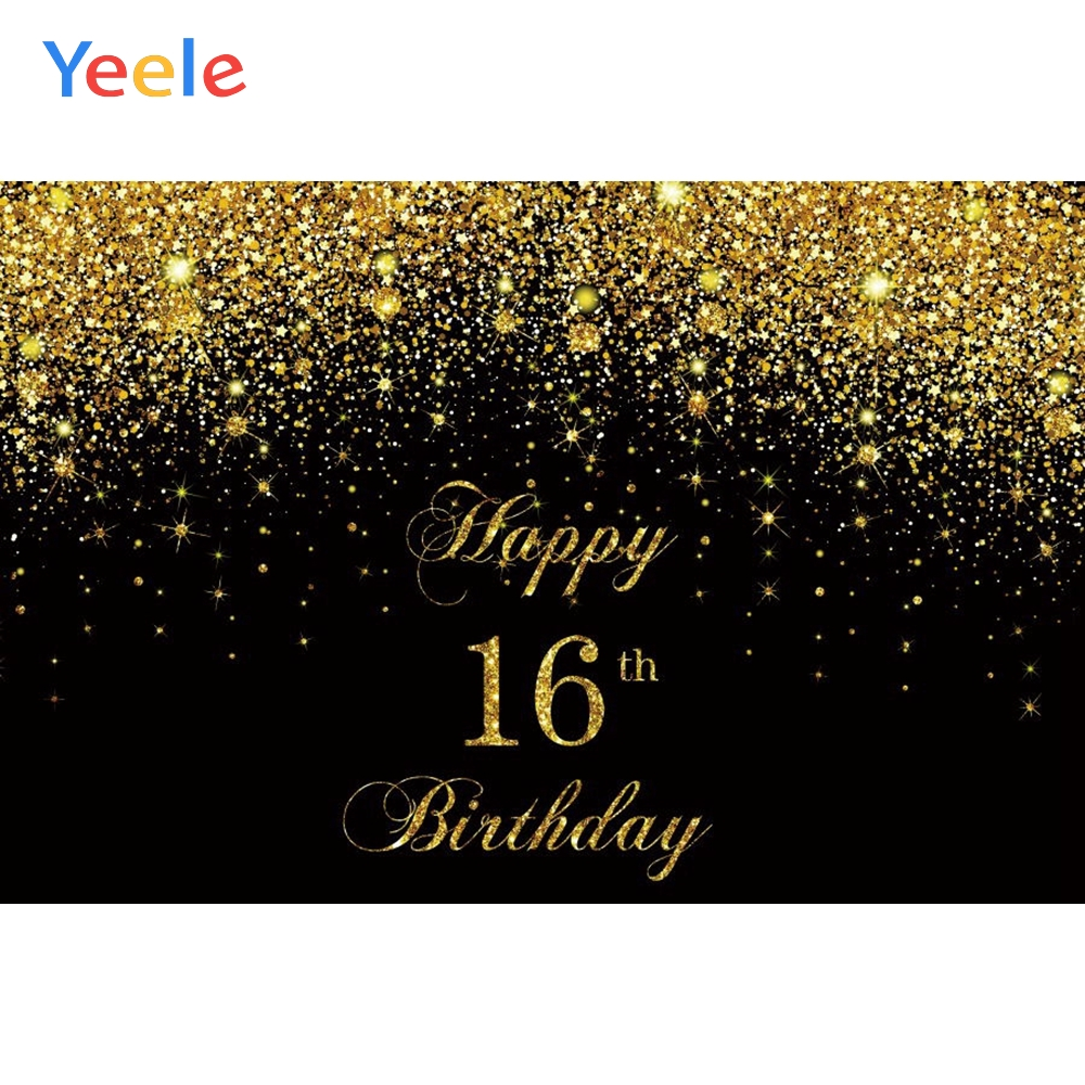 16 18 30 40 50 <font><b>60th</b></font> <font><b>Birthday</b></font> Party Gold Dots Glitter Shiny <font><b>Backdrop</b></font> Vinyl Photography Background For Photo Studio Photophone image