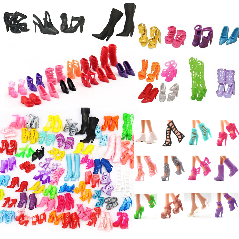 NK Mix Style Doll Shoes Fashion Boot Cute Heels Colorful Assorted Sandals For Barbie Doll  Accessories  Baby Toy JJ