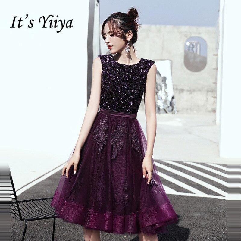 It's Yiiya Prom Dresses Elegant Deep Purple Sequins Vestidos De Gala Plus Size O-neck Sleeveless Dress Women Party Night LF146
