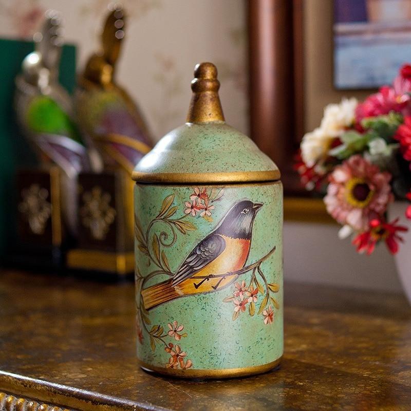 Vintage Ceramic Kitchen Canister Jars Storage Bottles Retro Tea Candy Tin Sugar Pot Organizer Painted Storage Jar Cans Cooking-2