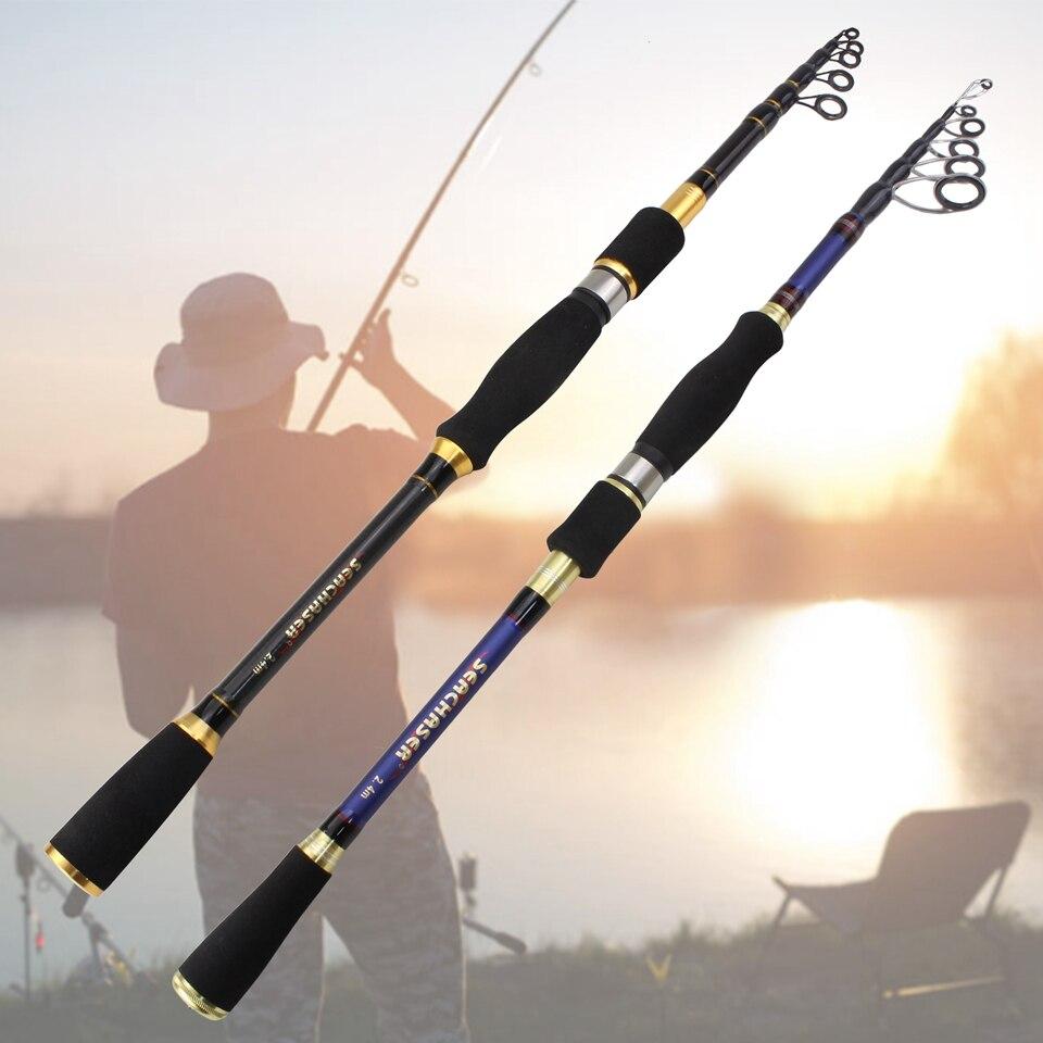 1.8m-2.7m fibra de carbono isca fiação vara telescópica viagem pólo de pesca m potência 7-28g peso 12-25lb isca linha pesar