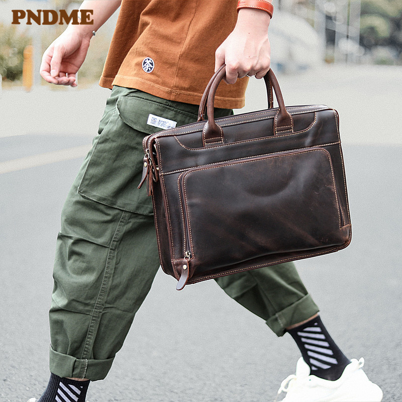 PNDME Business Casual High Quality Genuine Leather Men's Briefcase Fashion Vintage Cowhide Hand Laptop Shoulder Messenger Bags