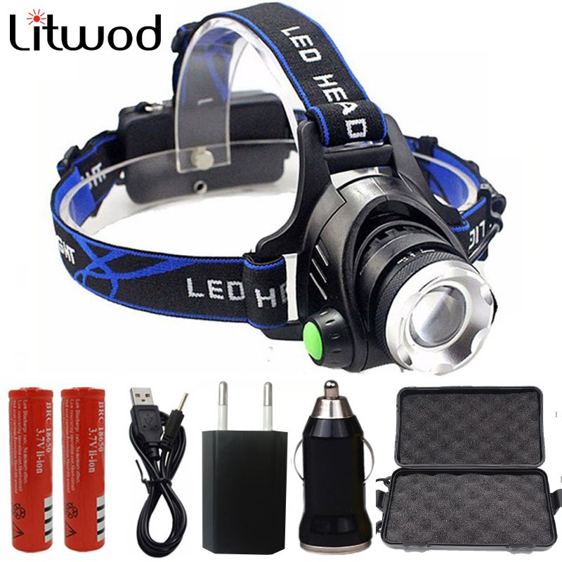 Super Bright LED Headlight Rechargeable Head Lamp Waterproof Zoom Head Lights Lamps 18650 Battery+AC/Car/USB Charger For Fishing