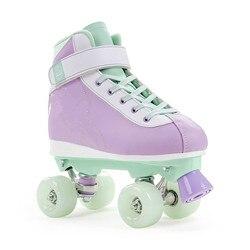 Patines simples y modernos de cuatro ruedas para niños, zapatos de skate con combinación de Velcro y encaje de doble hilera