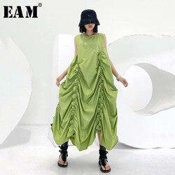 Женское длинное платье EAM, зеленое плиссированное платье с завязками и круглым вырезом, без рукавов, на весну-лето 2020 1U721