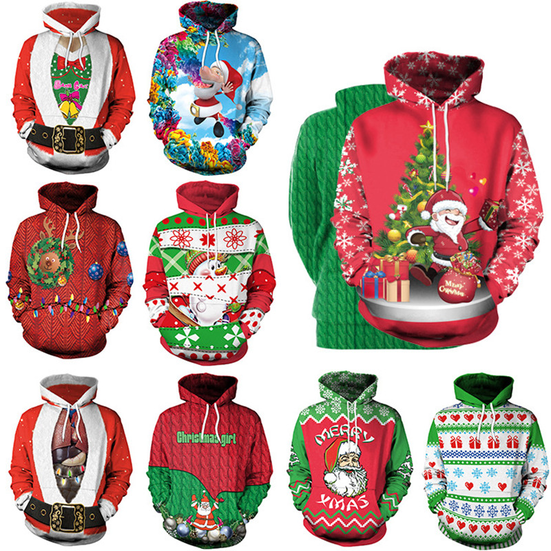 Men Women 2019 Large Size Christmas Print Loose Ladies Autumn Winter Tops Clothes Long Sleeve With Hat Large Size XXL