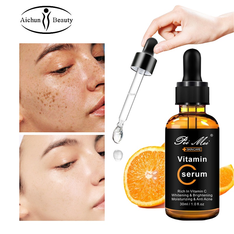 Vitamin C Whitening Facial Serum Moisturizing Acne Removal Anti-wrinkle Anti-Aging Firming Brightening Face Essence liquid 30ml