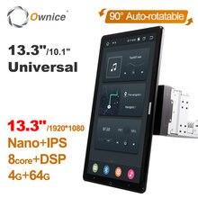 13,3 zoll Android 10,0 Ownice Auto Drehbare 10,1 zoll 1920*1080 IPS Nano Universal Auto Auto radio Multimedia Stereo audio HDMI