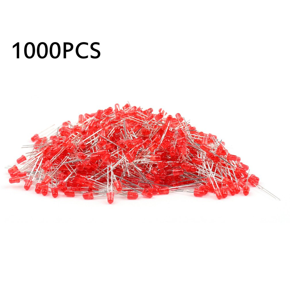 1000 Pieces 3mm Round LED Light Emitting Diodes Component Red/Green/Yellow/White/Blue LED Bulb Lamp Light Super Bright