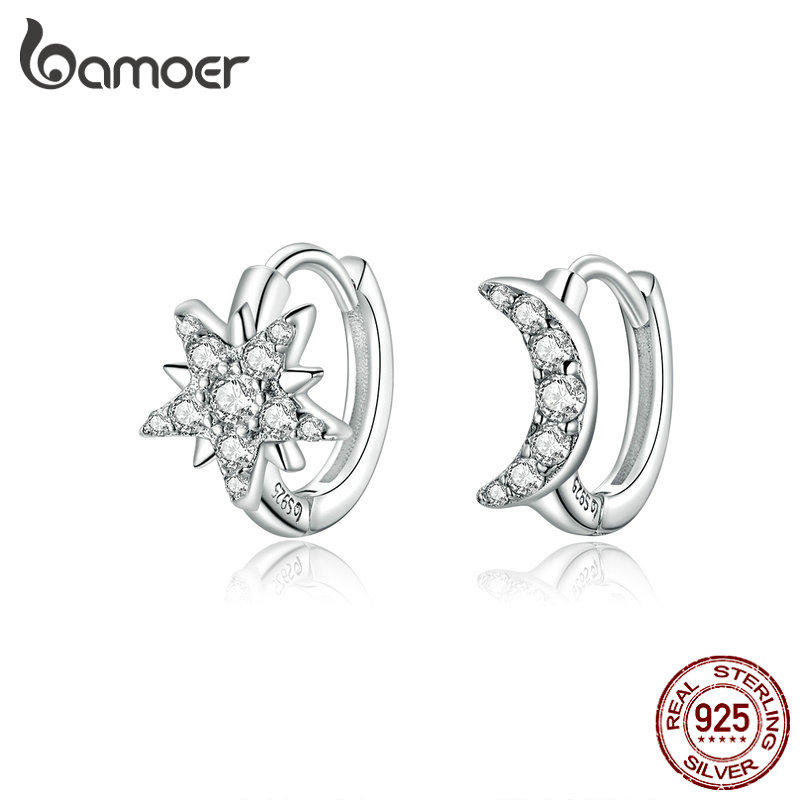 Bamoer Silver 925 Jewelry Star And Moon Hoop Earrings For Women Sterling Silver 925 Anti-allergy Fine Jewelry Gifts BSE289