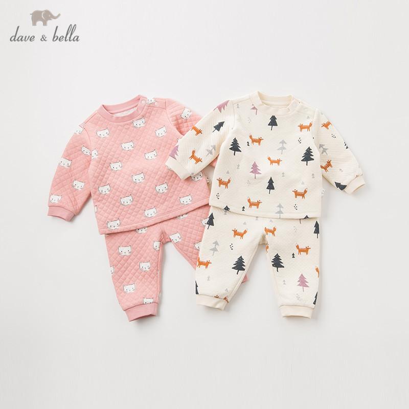 DB12192 dave bella winter baby unisex fashion cartoon print clothing sets kids cute long sleeve sets children 2 pcs suit