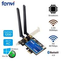 Desktop Dual band 1200Mbps Bluetooth 4.0 PCI E Wireless WiFi Adapter 802.11ac Broadcom Wifi Card WLAN For MAC Hackintosh Windows