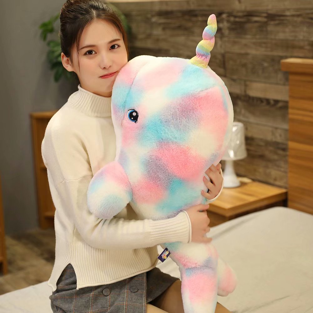 70-110cm Giant Rainbow Narwhal Plush Stuffed Animals, Adorable Soft Sea <font><b>Whale</b></font> <font><b>Plushies</b></font> Pillow, Kids Children Living Ocean Gifts image