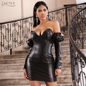 Image 3 - Adyce 2020 New Winter Sexy Black V Neck Off Shoulder Long Sleeve Party Dress Women PU Leather Club Evening Runway Mini Dresses