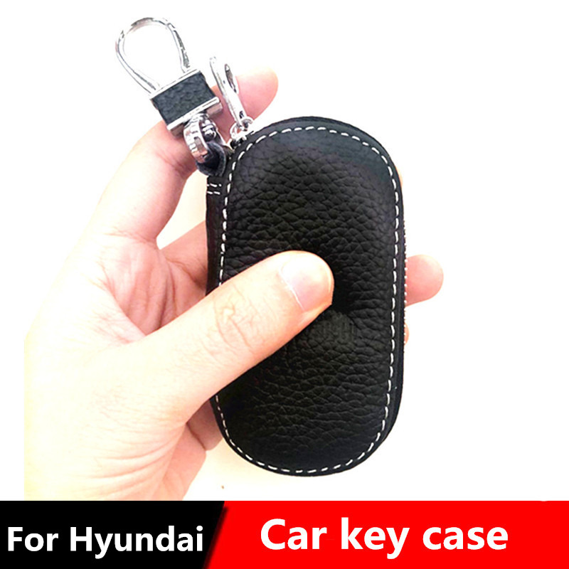 Genuine Leather Car Key Fob Case Cover for HYUNDAI ix35 sonata elantra Veloster i30 VERNA IX45 Car Keychain Holder Accessories in Key Case for Car from Automobiles Motorcycles