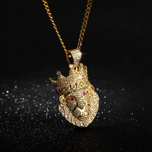 Gold Color Cuban Crown Lion Pendant Necklace Chains With Red Eye Full Iced Out Cubic Zirconia Hip hop Necklace Jewelry(China)
